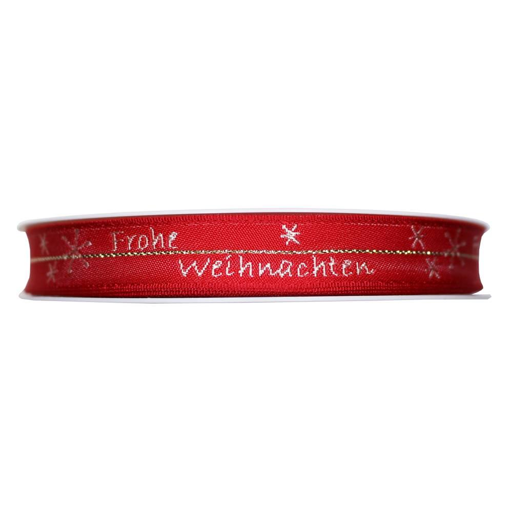 Geschenkband Frohe Weihnachten.Geschenkband Rot Weiss Goldfaden 15mm 20m Mit Drahtkante Frohe Weihnachten